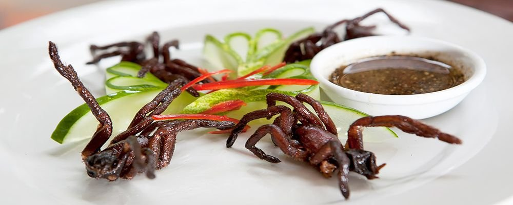 25 'Exotic' Dishes When Travelling - Top 25 Strange Foods When You Travel - The Wise Traveller - Thailand Cambodia - Deep Fried Tarantula