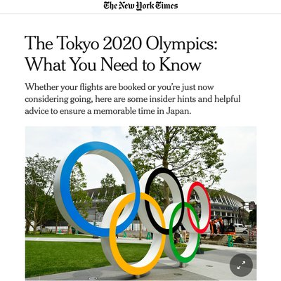 Monthly Roundup – Japan Olympics 2020 - The Wise Traveller - New York Times